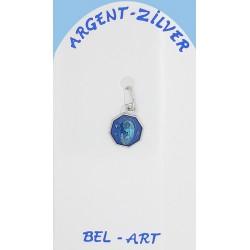 Médaille Argent - Vierge - Email Bleu