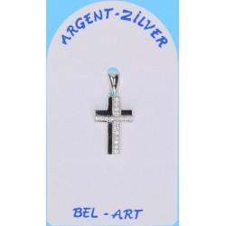 Croix Argent + Zircons 17 X 10 Mm