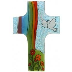 Kruisbeeld Glas Vredesduif/Regenboog