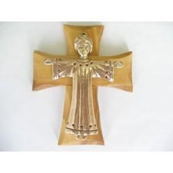 Croix murale 12 cm bois d'olivier / avec Christ